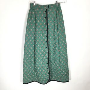 """Dresses & Skirts - Quilted Maxi Skirt Green Calico Black Button 28"""" w"""